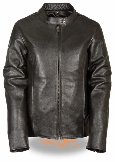 Womens Black Leather Zipper Scooter Jacket w Snap Collar