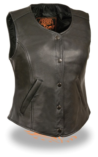 Womens Black Leather Snap Front Longer Body Vest