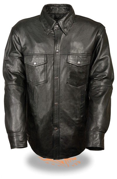 Mens Light Weight Black Leather Shirt Style Snap Front Jacket