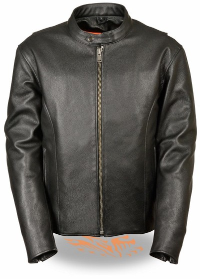 Mens Classic Black Leather Scooter Jacket w Side Zippers