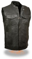 Mens Open Neck SOA Style Snap/Zip Front Club Vest