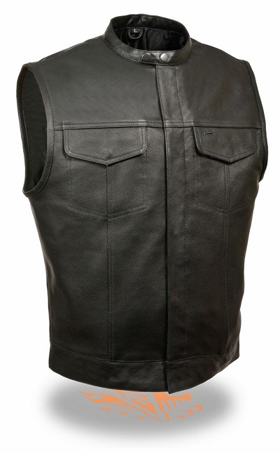 Mens Snap Collar Concealed Snap Club Motorcycle Vest