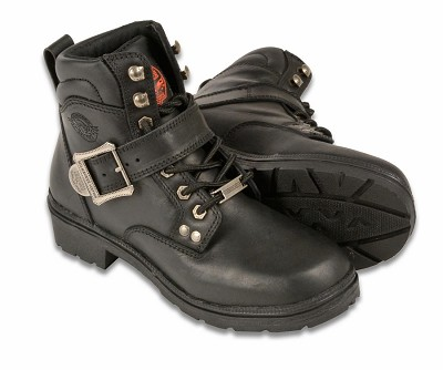 Womens Black Leather Side Buckle Boots w Plain Toes