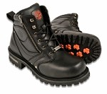 "Mens Black Leather Boots, 6"" Tall, Side Zipper, Plain Toe"