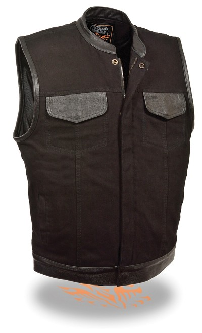 Mens Black Denim Club Style Vest w Leather Trim, Hidden Zipper