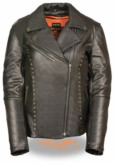 Ladies Black Leather Vented Classic Jacket w Rivet Detailing