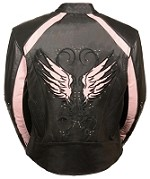 Ladies Black Leather Jacket w Studs, Pink Embroidered Wings