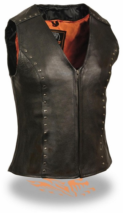Ladies Black Leather Zipper Front Motorcycle Vest w Studding