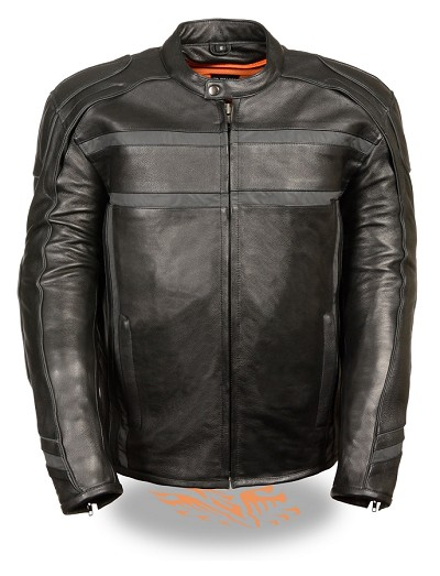 Mens Reflective Band & Piping Scooter Black Leather Jacket