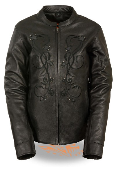Ladies Black Naked Leather Jacket w Reflective Stars and Rivets