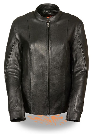 Ladies Black Leather Racer Jacket w Side Buckles