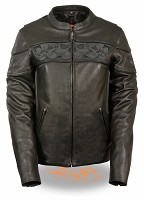 Ladies Black Leather Crossover Jacket w Reflective Skulls