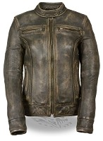 Womens Distressed Brown Scooter Jacket w Venting