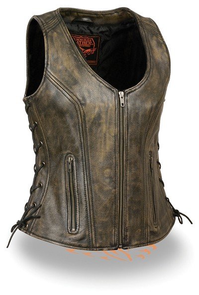 Ladies Distressed Brown Open Neck Leather Vest w Side Lace