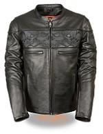 Mens Crossover Black Leather Jacket with Reflective Skulls