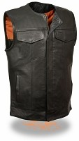 Mens SOA Collarless Snap/Zip Front Club Motorcycle Vest