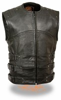 Mens Updated Black Leather SWAT Team Style Motorcycle Vest