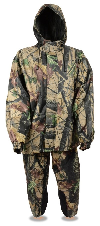 Mens Water Resistant Nylon Jungle Camouflage Rain Suit
