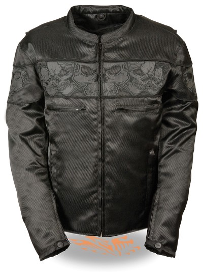 Mens Black Nylon Vented Scooter Jacket, Reflective Skulls
