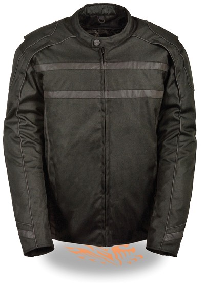 Mens Black Nylon Vented Scooter Jacket, Reflective Strips