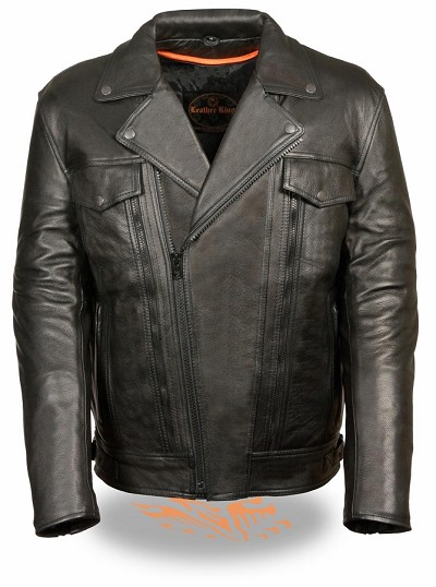 Mens Black Vented Leather Motorcycle Jacket, Utility Pockets