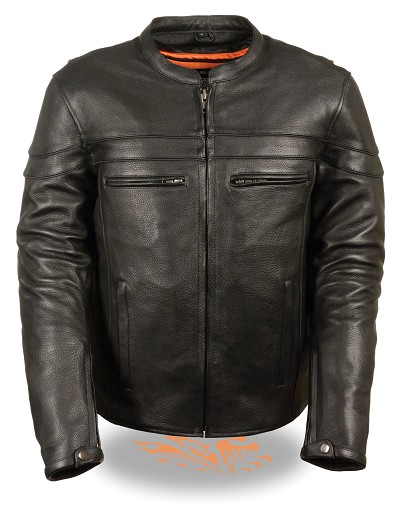 Mens Vented Black Leather Scooter Crossover Jacket