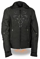 Ladies Black Nylon 3/4 Jacket with Tribal Detail