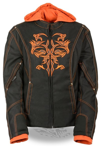Ladies Black Nylon 3/4 Jacket w Orange Tribal Detail