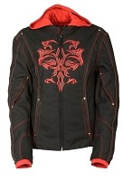 Ladies Black Nylon 3/4 Jacket w Red Tribal Detail
