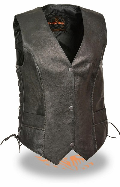 Ladies Black Leather Snap Front Vest w Thin Braided Seams
