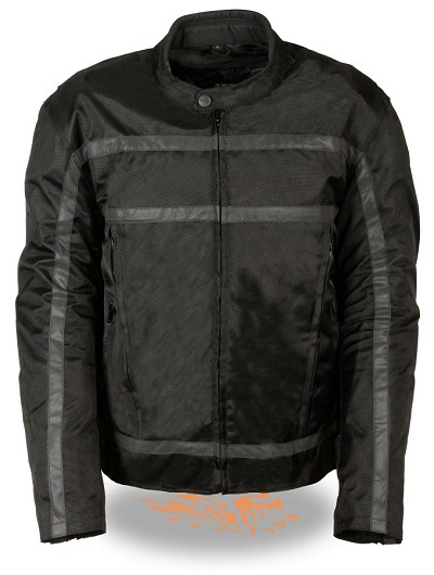 Mens Black Nylon Racer Jacket, Reflective Stripes