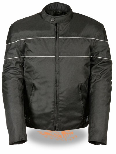 Mens Black Nylon Scooter Jacket, Reflective Piping