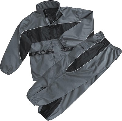Mens Black & Gray Rain Suit Water Resistant w/ Reflective Piping
