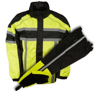 Mens Black & Neon Green Rain Suit Water Resistant w/ Reflective Tape