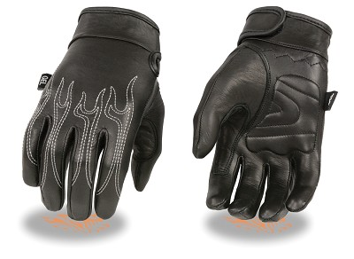 Mens Black Leather Cruiser Gloves w Flame Embroidery